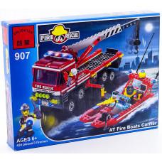 Конструктор City «Пожарный катер и грузовик для его перевозки» (Brick 907)
