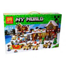 Конструктор Майнкрафт My World «Зимняя деревня: Мастерская Санты» (Lele 33024)