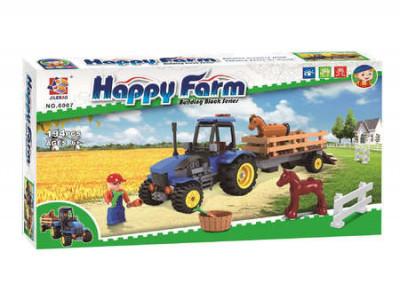 Конструктор Счастливая ферма «Трактор для перевозки лошадей» (Jilebao 6007)
