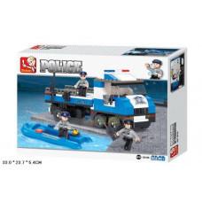 Конструктор Sluban Полиция «Автомобиль для перевозки патрульного катера» (M38-B0186)